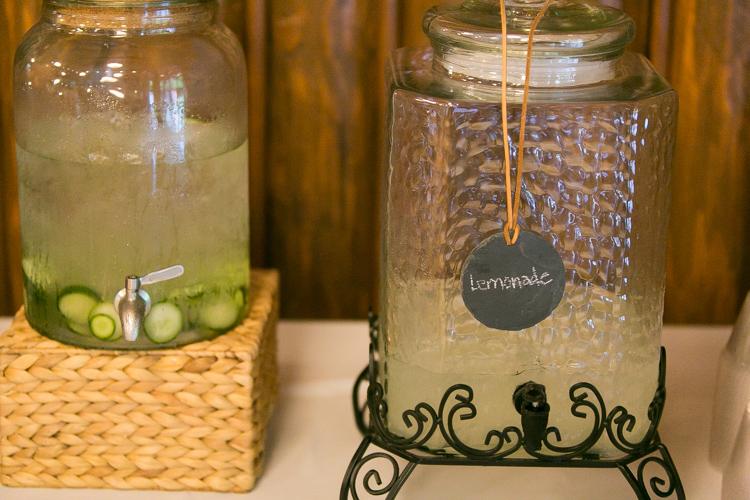 lemonade and cucumber water at wedding reception