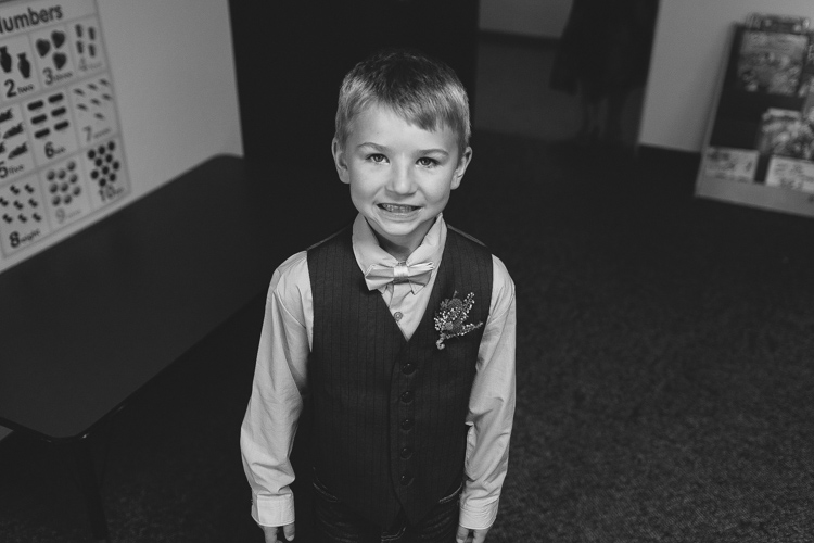 ring bearer in vest and bowtie