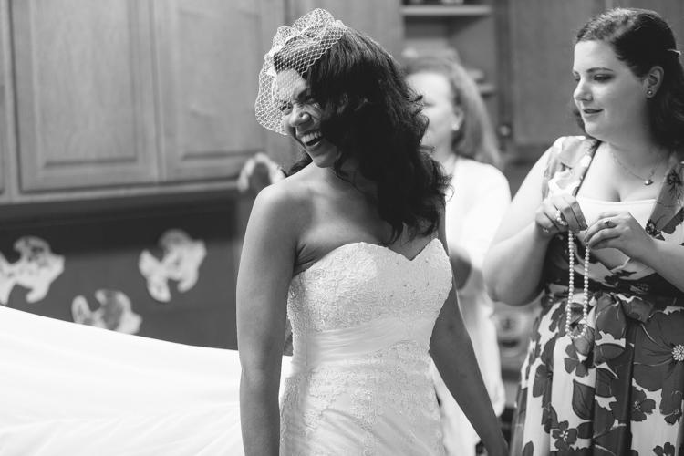bride in birdcage veil