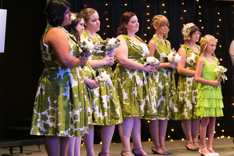 bridesmaids in green and white floral