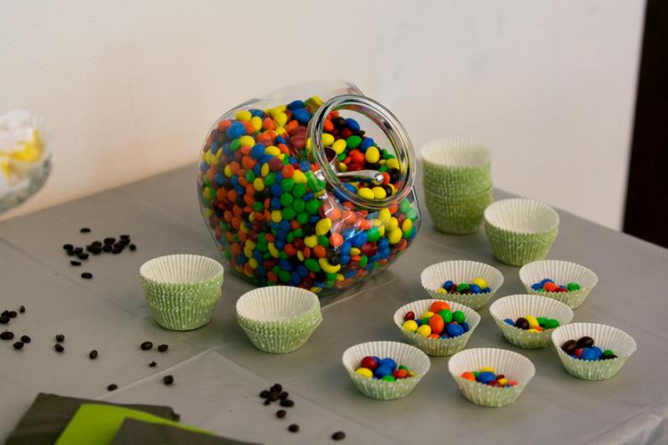m&m candy bar at wedding reception