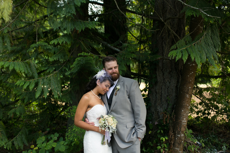 bride and groom woodsy formals