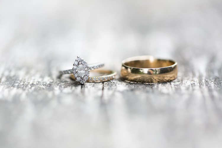 marquise diamond wedding ring and gold bands