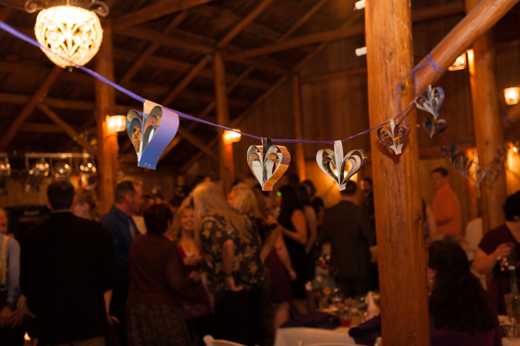 hearts hanging in barn wedding reception seattle
