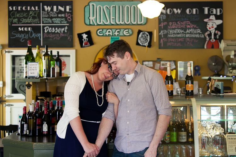 rosewood cafe, tacoma photographer, tacoma engagement photographer, meaningful engagement photography, unique engagement, offbeat photographer, couple in cafe