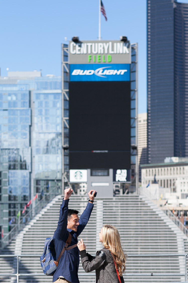 century link field photography, century link field proposal, proposal photography, surprise proposal seattle, seattle proposal photographer
