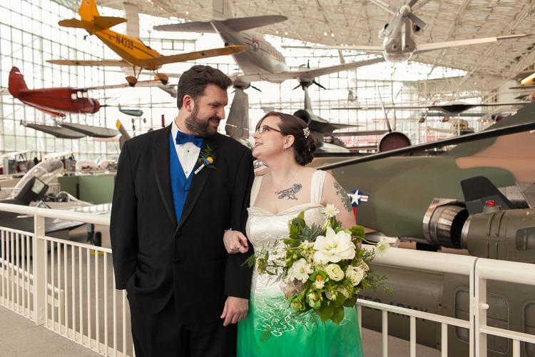 Museum of Flight, Museum of Flight wedding, offbeat wedding, wai ching wedding dress, pilot themed wedding, tattooed bride