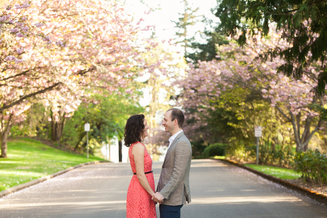 cherry blossom engagement seattle