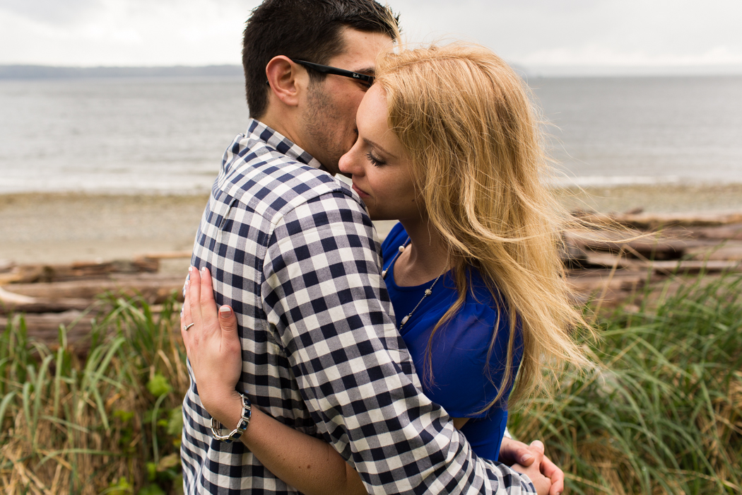 couple embracing engagement photography