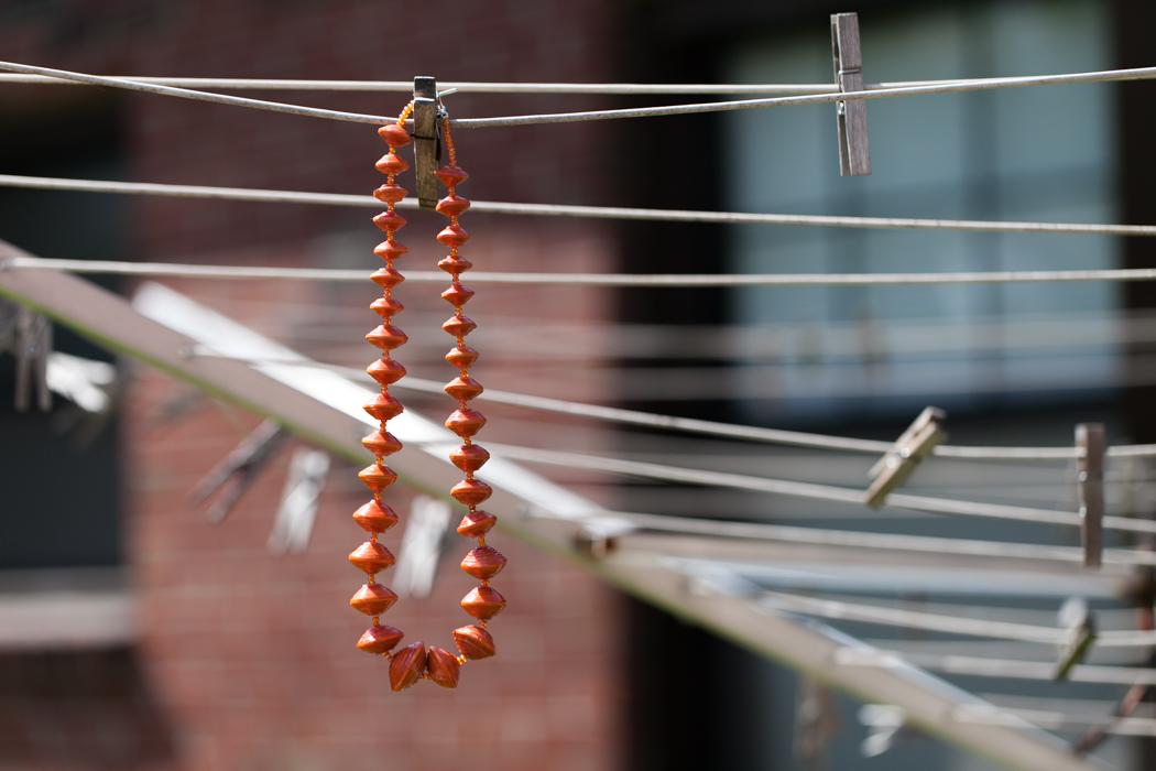 orange necklace wedding jewelry photography