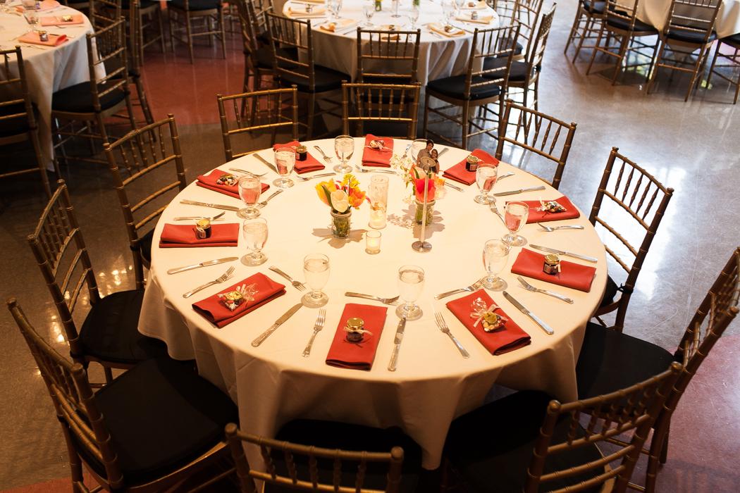 orange reception tables