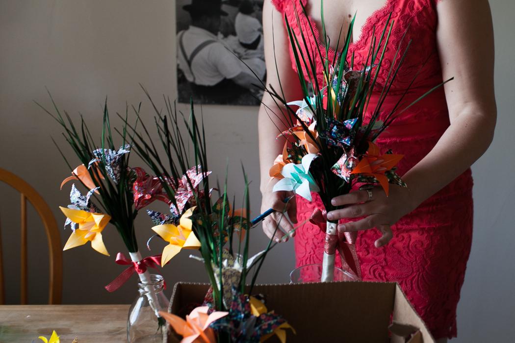 paper flower wedding photography