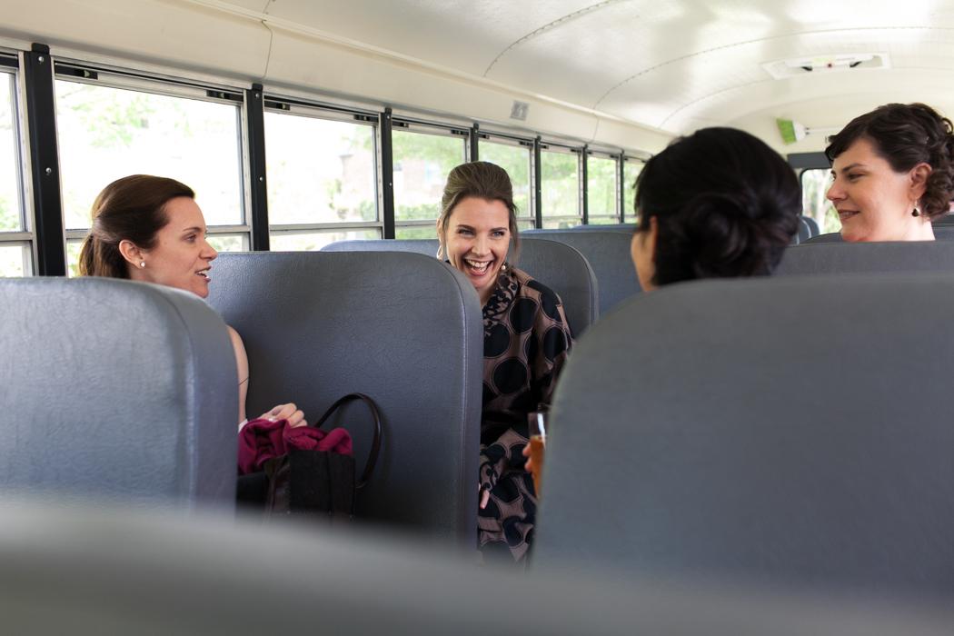 bridesmaids on a schoolbus