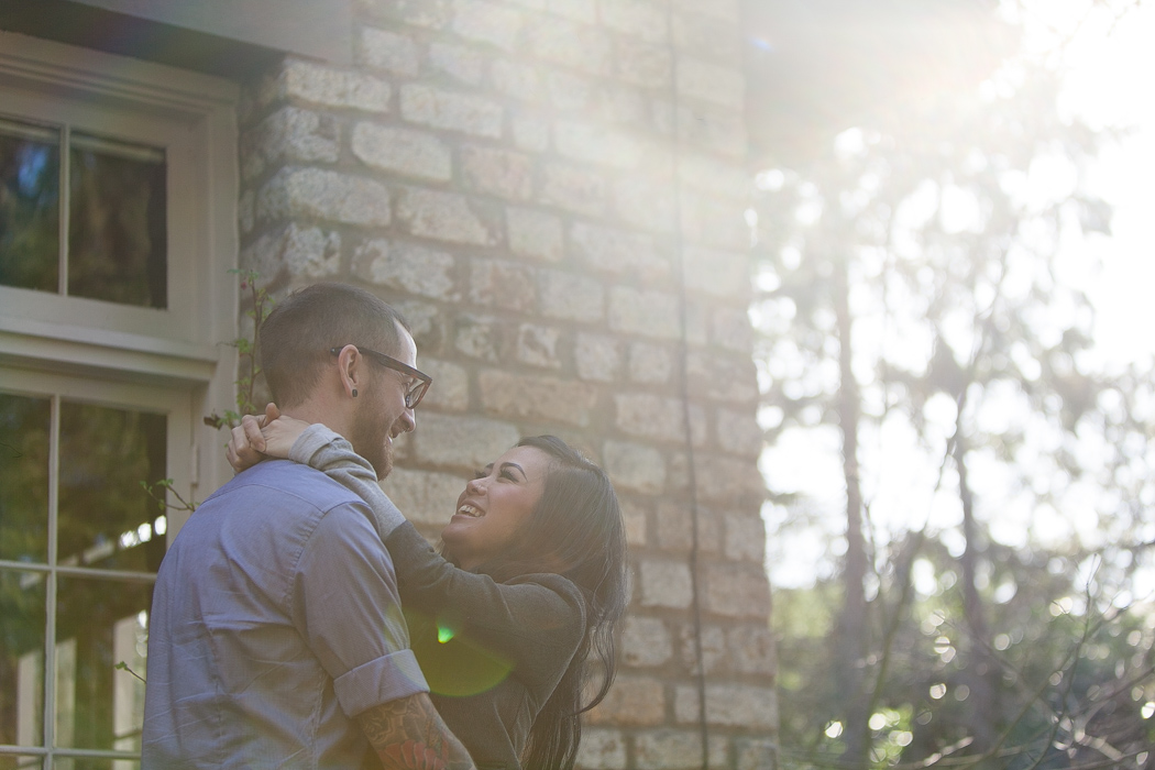 sun-flare engagement photography