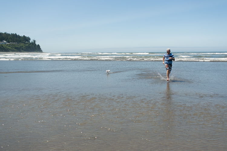 dog running on the beach in seaside oregon