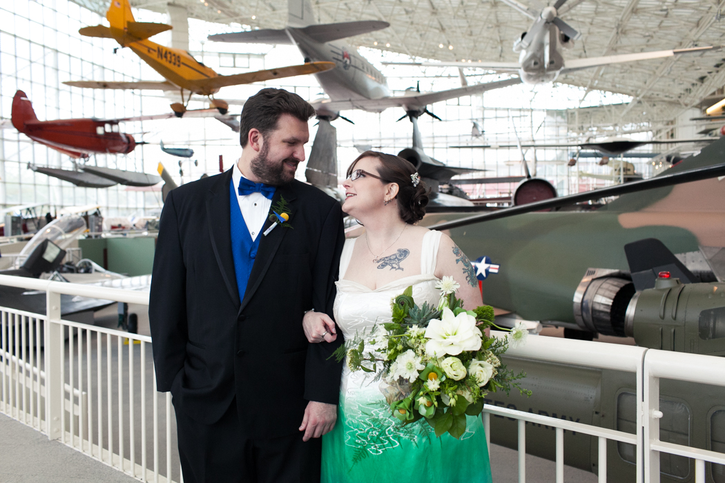 bride and groom at museum of flight