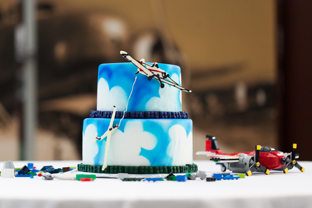 flight themed wedding cake clouds