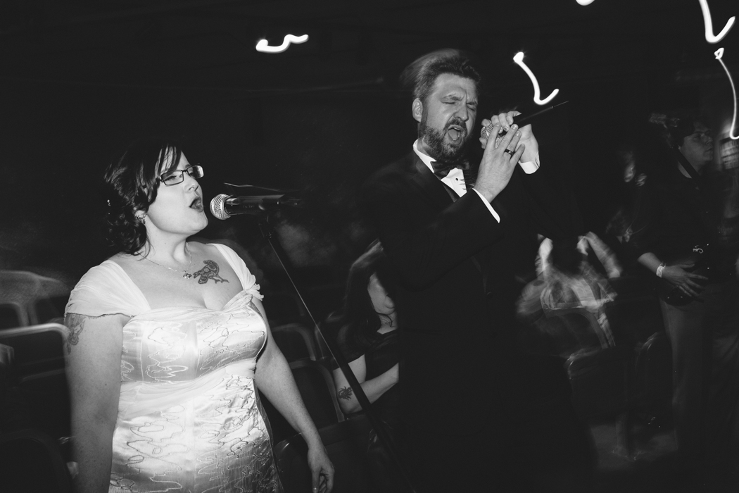 bride and groom rockband