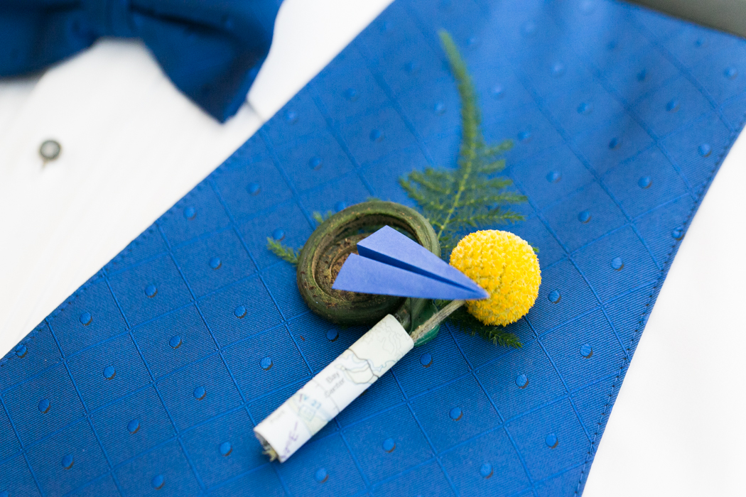 plane themed boutonniere