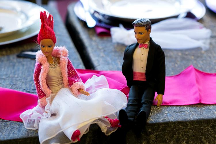 pink hair bride and groom barbie