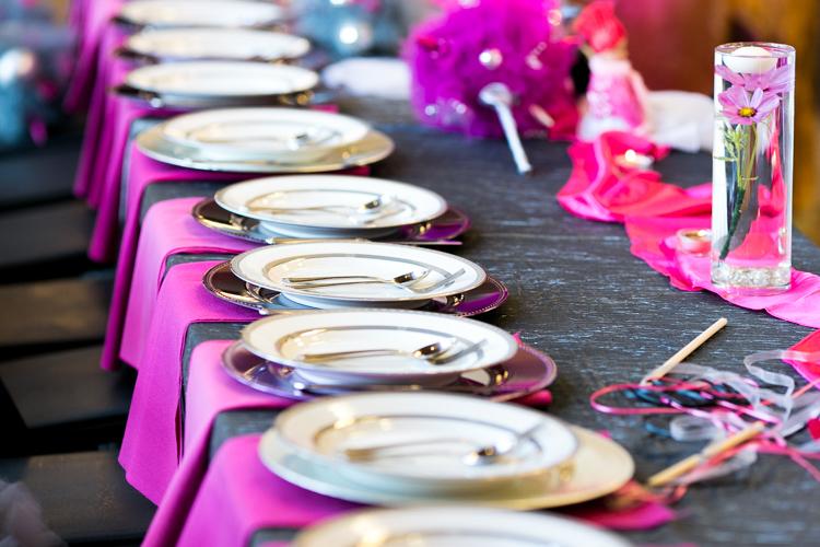 hot pink wedding reception