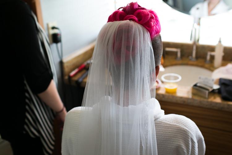 pink hair bride getting ready