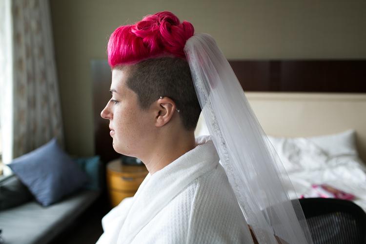 pink hair buzzed head offbeat bride