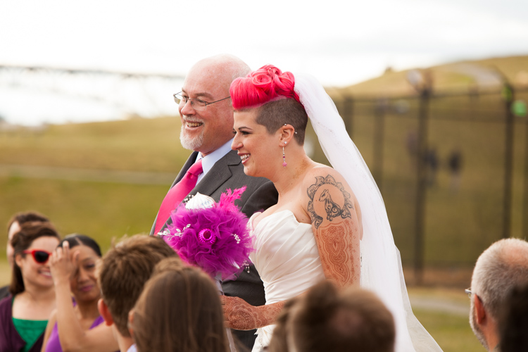 offbeat bride walking down the aisle