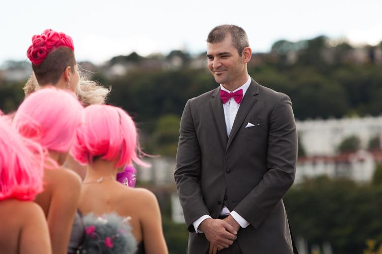 groom pink bowtie