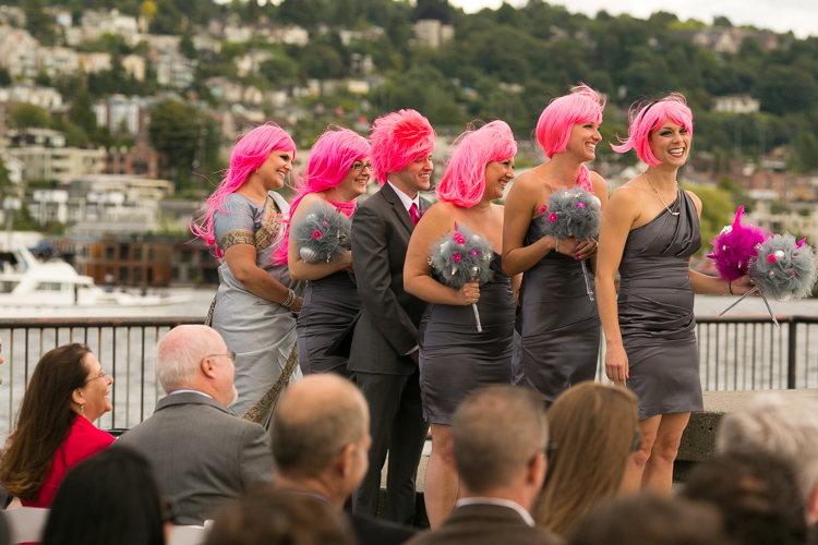pink and grey bridesmaids