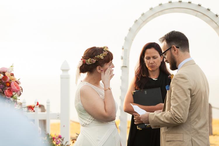 bride crying wedding ceremony