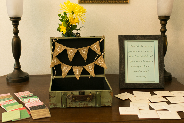 card box with burlap banner