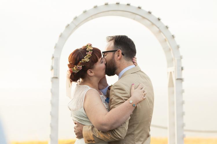 wedding kiss ceremony port angeles wedding photographer