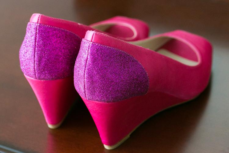 hot pink wedding shoes sparkles