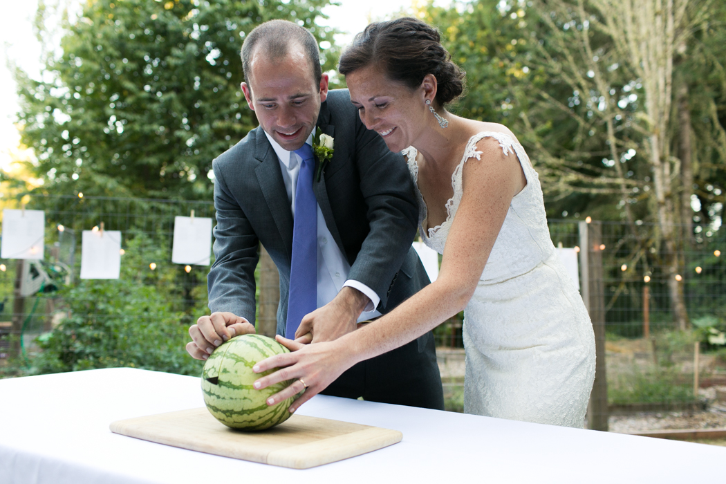 cutting of the watermelon