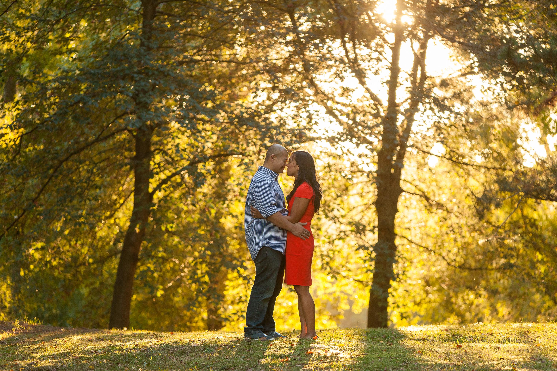 Fall engagement session, arboretum engagement, photojournalism engagement, red dress engagement, golden hour engagement seattle
