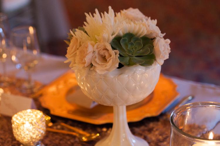 white milk glass vase succulent wedding reception