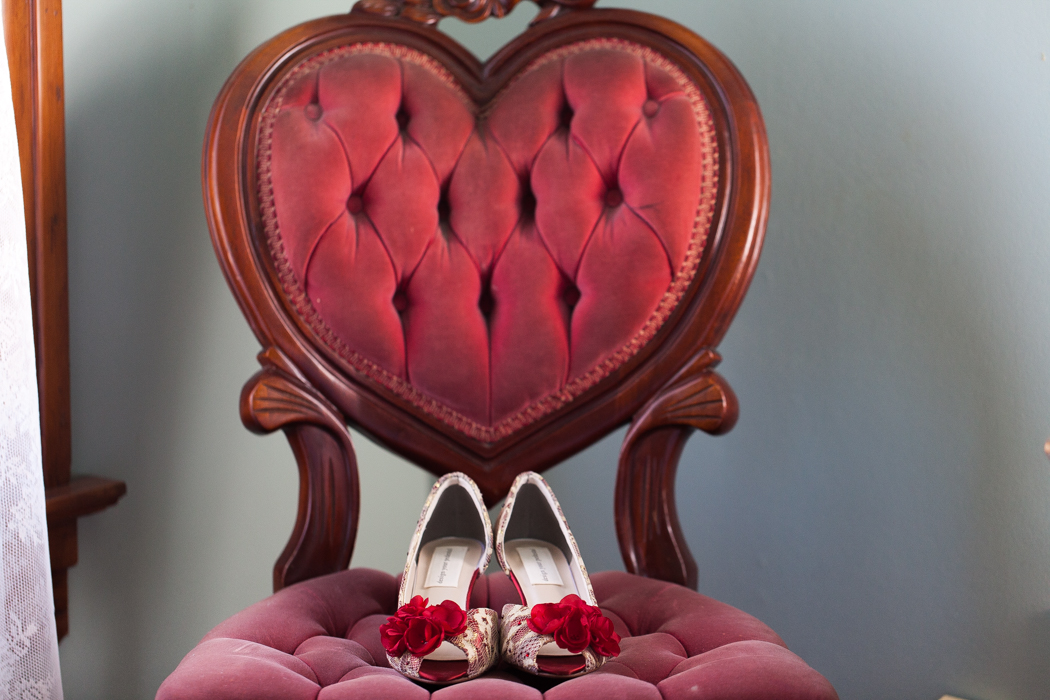 red heart tufted heart chair red wedding shoe photography, JayLee Photography