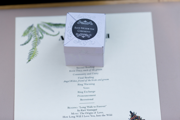 Wedding program and favor for fun ceremony in West Seattle.