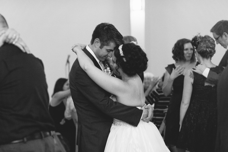 Sweet slow dancing at wedding reception.