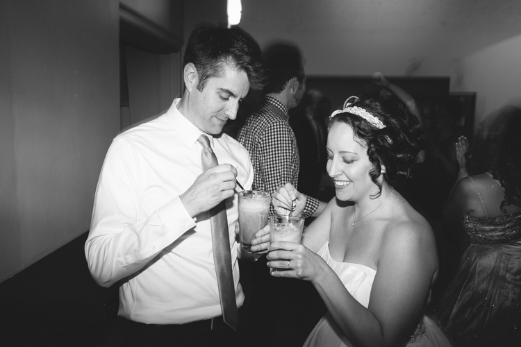 Bride and groom get down on some root beer floats during wedding receptions.