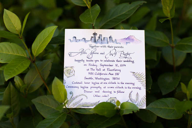 Custom wedding invitation for seattle wedding ceremony.