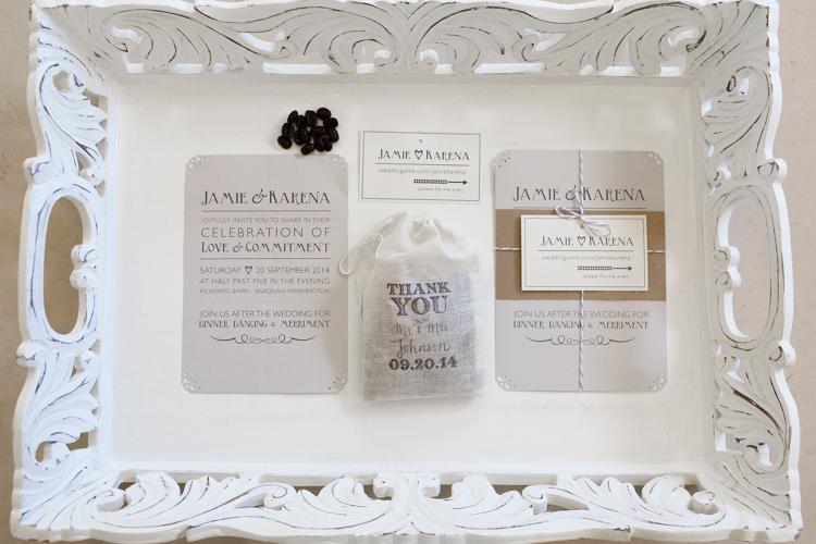 Custom letterpress wedding invites and details.