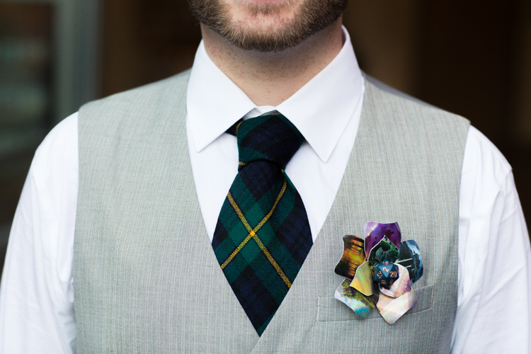DIY magic the gathering wedding boutonniere using manna cards.