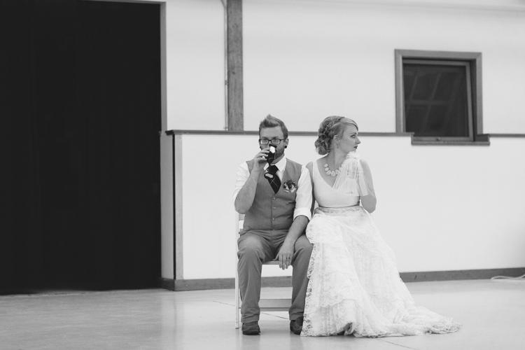Bride and groom wedding toast.