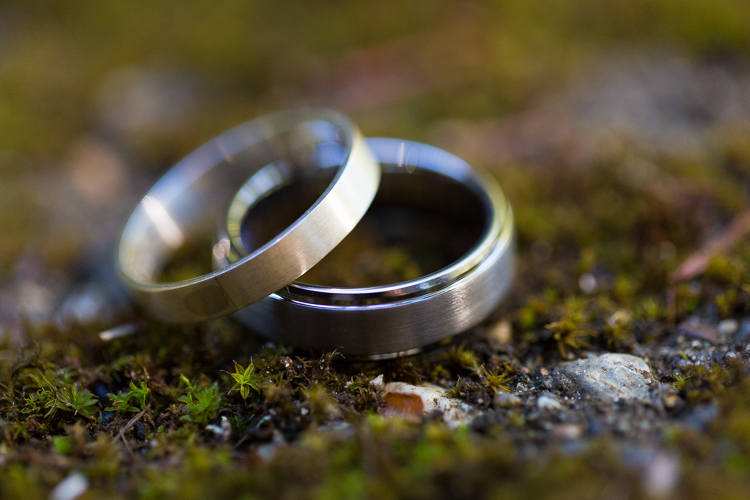 brushed metal wedding bands