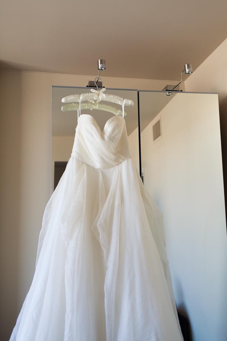 modern strapless wedding dress