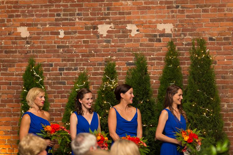 bridesmaids at alter