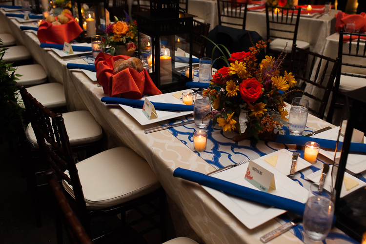 orange and blue table settings