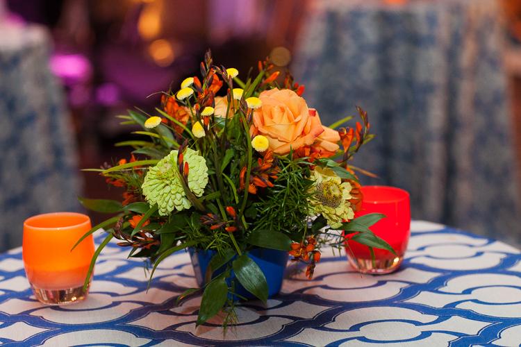 orange and blue floral